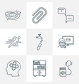 school icons line style set with astronomy vector image