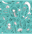 seamless pattern marine life vector image