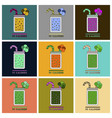 set of icons in flat design smoothies broccoli vector image