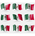 Set of Mexico flags in the air vector image