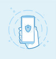 shield with padlock icon on smartphone screen vector image