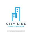 simple line art city logo vector image vector image