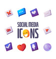 social media icons cartoon set for web site design vector image