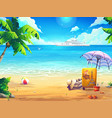 summer beach with cruise liner vector image