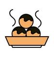 sushi oriental menu octopus balls in bowl line and vector image vector image