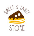 sweet and tasty store colorful hand drawn label vector image