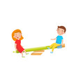 two kids swinging on a pencil seesaw and eraser vector image