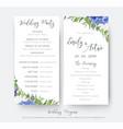 wedding floral wedding party ceremony program vector image vector image