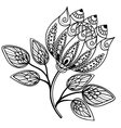 Beautiful black-and-white flower hand drawing vector image