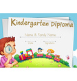 Diploma template for kindergarten students vector image