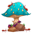 A giant mushroom and a colony of ants vector image vector image
