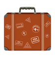 a vintage suitcase on white background vector image vector image