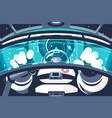 astronaut in futuristic capsule or container vector image vector image