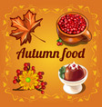 autumn poster with dry maple leaves ripe red vector image vector image