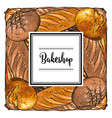 bakeshop brand logo with loafs of bread vector image vector image
