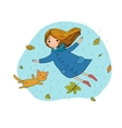 Beautiful little girl and a cute cartoon cat vector image vector image