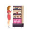 beauty cosmetics stand with production vector image vector image