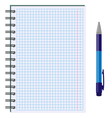 Blank paper sheet in cage with pen isolated on vector image