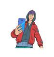 boy teenager with smartphone vector image
