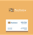 bricks wall logo design with business card vector image