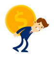businessman in suit carry big gold coin on his vector image vector image