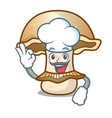 chef portobello mushroom character cartoon vector image vector image