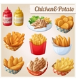 Chicken and potato Set of cartoon food vector image