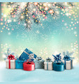 christmas holiday background with colorful gift vector image vector image