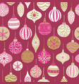 christmas vintage ornaments seamless pattern pink vector image vector image