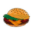 color crayon stripe cartoon hamburger fast food vector image vector image