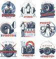 colorful photo club labels vector image
