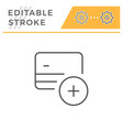 credit card add editable stroke line icon vector image