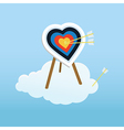 Cupid s training target standing on a cloud vector image vector image