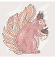 Cute pink squirrel holding acorn vector image