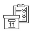 delivery box check list icon outline style vector image