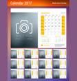 desk calendar planner template for 2017 year week vector image vector image