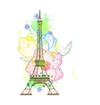 Eiffel tower isolated over the white background vector image