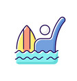 emergency signal for drowning rgb color icon vector image