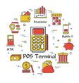 finance and banking concept - pos terminal vector image vector image