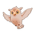 flying owl in cartoon kids style bird isolated vector image