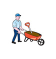 Gardener Pushing Wheelbarrow Cartoon vector image vector image