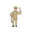 Gas Jockey Attendant Waving Isolated Cartoon vector image vector image