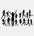 girl and children running silhouettes vector image vector image