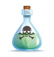 glass bottle with green liquid icon vector image