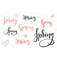 hand lettering hello spring texts set with vector image vector image