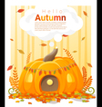 Hello autumn background with pumpkin house vector image vector image