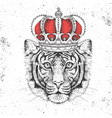 hipster animal tiger in crown hand drawing muzzle vector image