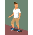 Hipster guy wearing small ponytail on skateboard vector image vector image
