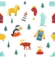 iceland cartoon seamless pattern vector image vector image