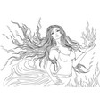 line art fire element girl vector image vector image